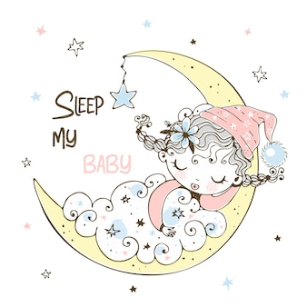 Een schattig klein meisje in pyjama slaapt op de maan.