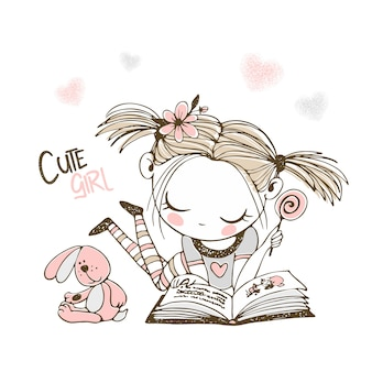 Een schattig klein meisje leest een boek.