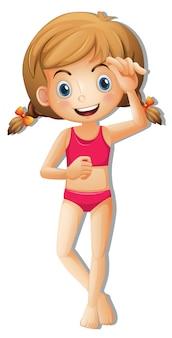 Een schattig meisje dat bikini draagt