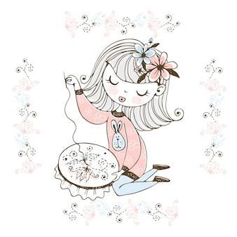 Een schattig meisje houdt zich bezig met handwerken en borduurt een prachtig patroon op een hoepel.