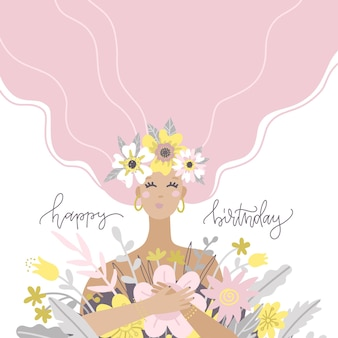 Een schattig meisje met een boeket bloemen gelukkige verjaardag wenskaart