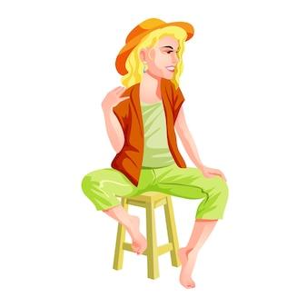 Een schattig meisje met een hoed en groen-en-bruine kleren zit op een kinderstoel. blonde zitten en glimlachen. geïsoleerde illustratie in cartoon-stijl.