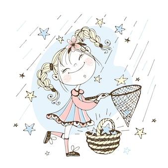 Een schattig meisje met staartjes vangt vallende sterren