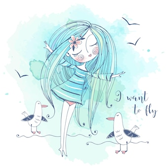 Een schattig meisje staat aan de kust en droomt ervan te vliegen als vogels. grafieken en aquarellen. vector.