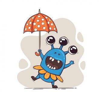 Een schattig monster met een paraplu danst