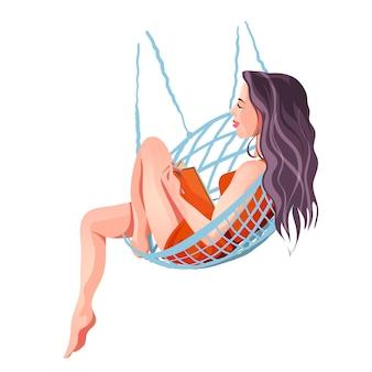 Een schattig mooi meisje in een rode jurk ligt in een hangmat en leest een boek. leuk meisje in een mooie jurk. geïsoleerde illustratie in cartoon-stijl.