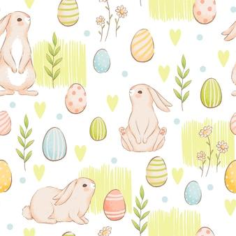 Een schattig naadloos patroon met konijnen, wortelen en gekleurde eieren. pasen-lenteontwerp met broodjes. imitatie van handgemaakte aquarellen. cartoon plat. geïsoleerd op een witte achtergrond.