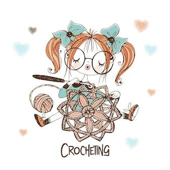 Een schattig naaistermeisje haakt een opengewerkte servet. vector.
