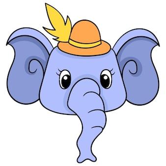 Een schattig olifantenhoofd met een mooie hoed en een lange slurf. doodle pictogram tekening, vector illustratie kartonnen emoticon