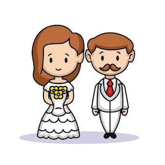 Een schattig stel bruid en bruidegom net getrouwd