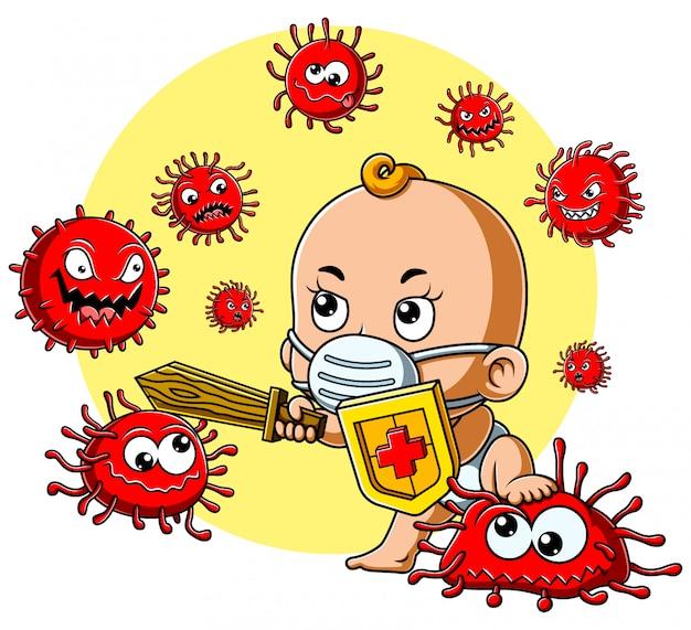Een schattige baby met masker strijd coronavirus