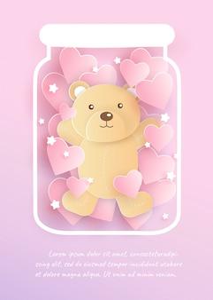 Een schattige beer in een pot en voor valentijnsdag kaart.