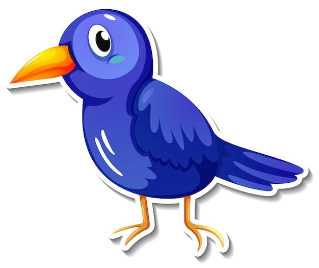 Een schattige blauwe vogel cartoon dieren sticker