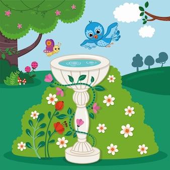 Een schattige blauwe vogel die naar een fontein vliegt in de lentetuin vectorillustratie