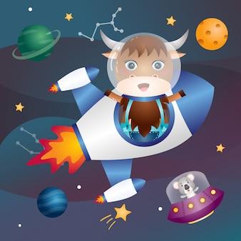 Een schattige buffel in de ruimtemelkweg