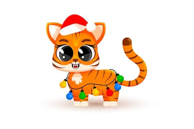 Een schattige cartoon tijgerwelp verstrikt in slingers, gloeilampen. kerstconcept, chinees nieuwjaar, een symbool van 2022. modieuze sticker. kerstkaart. vectorillustratie geïsoleerd op een witte achtergrond.