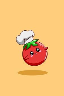 Een schattige cartoonillustratie van de tomatenchef