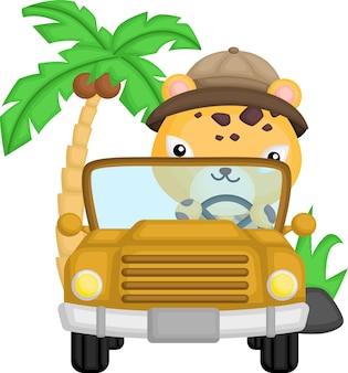 Een schattige cheetah die in zijn auto rijdt