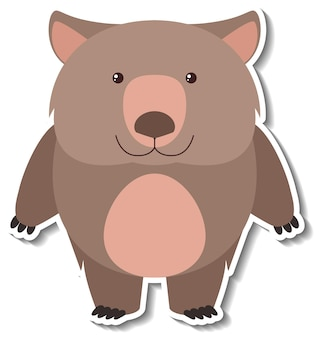 Een schattige dierensticker met een beer-tekenfilm