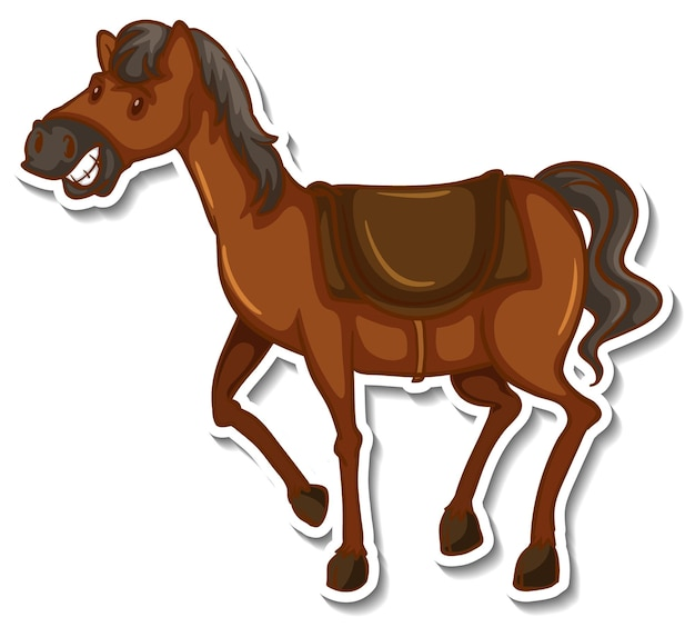 Een schattige dierensticker met paardencartoon