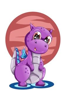 Een schattige dierlijke cartoon illustratie van de baby paarse draak
