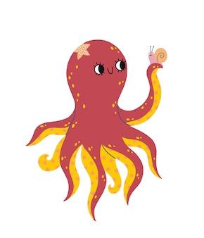Een schattige glimlachende octopus houdt een slak in zijn tentakel.