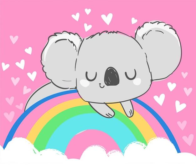 Een schattige grijze koala zit op een regenboog. kinderachtige illustratie.