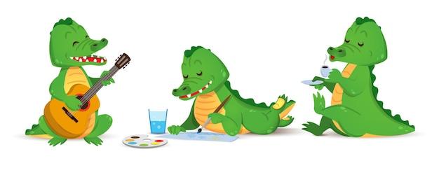 Een schattige groene krokodil speelt de gitaar, trekt en drinkt een koffieset van individuele alligator vector