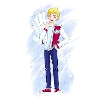 Een schattige jonge blonde mannelijke student heeft rollen papier met tekeningen.