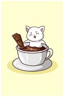 Een schattige kat die in koffie met chocolade zwemt