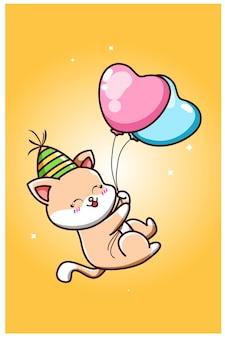 Een schattige kat draagt een verjaardagshoed en zweeft met twee ballonnen