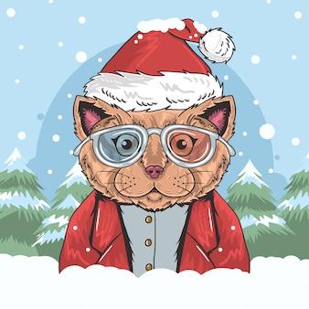 Een schattige kat met bril en een kerstkostuum die van de sneeuwval geniet