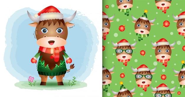 Een schattige kerstcollectie van buffels met een hoed, jack