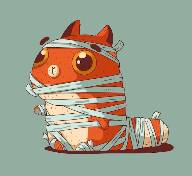 Een schattige kleine rode kat gekleed voor halloween in een mummiekostuum
