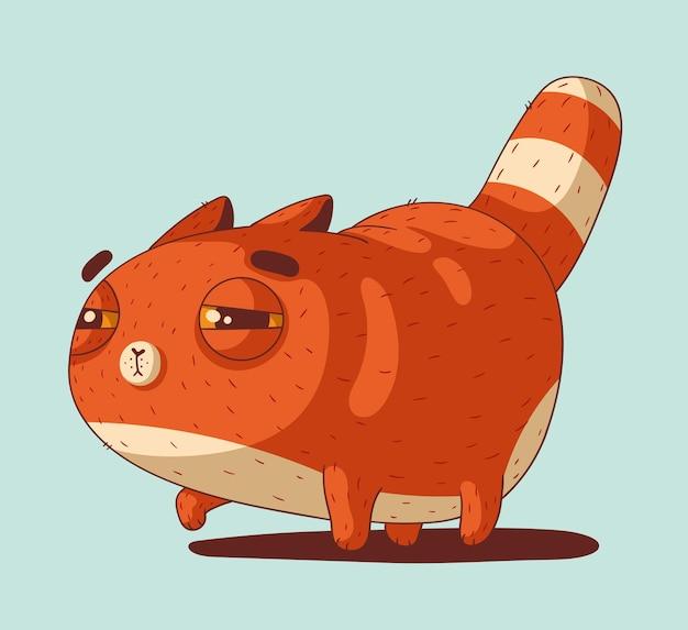 Een schattige kleine rode kat met een sluwe blik op iemand om op te jagen