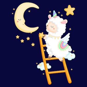 Een schattige lama die naar de maan reikt