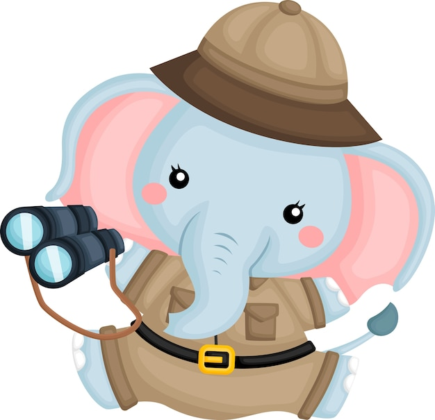 Een schattige olifant in een boswachter kostuum