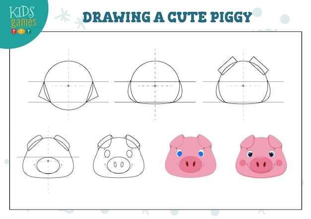 Een schattige piggy-oefening tekenen voor kleuters