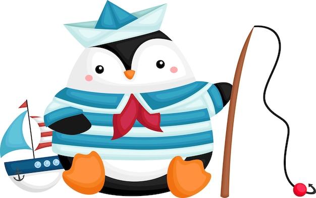 Een schattige pinguïn die een zeemanskostuum draagt