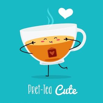 Een schattige pose van een thee. vector illustratie