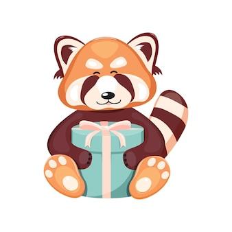 Een schattige rode panda houdt een geschenkdoos met een strik in zijn poten.