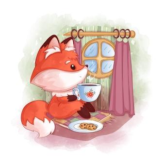 Een schattige rode vos zit bij een rond raam, drinkt hete thee en kijkt naar de regen.
