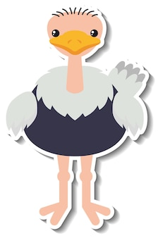 Een schattige struisvogel cartoon dieren sticker