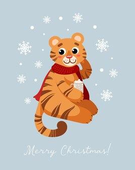 Een schattige tijger in een rode sjaal drinkt cacao merry christmas symbool van chinees nieuwjaar 2022