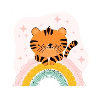 Een schattige tijgerwelp ligt op een regenboog is een schattige kinderillustratie in scandinavische stijl
