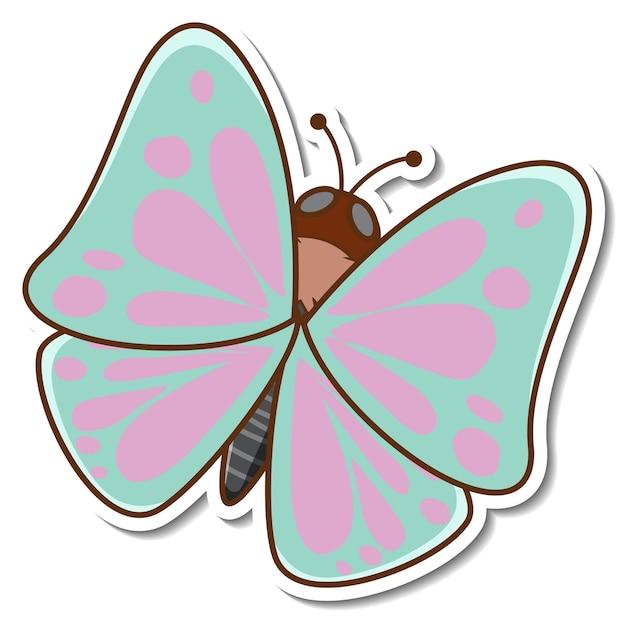 Een schattige vlinder cartoon sticker