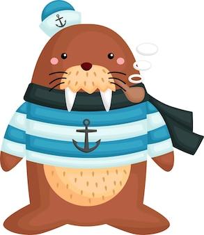 Een schattige walrus in zeemanskostuum