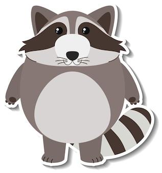 Een schattige wasbeer cartoon dieren sticker