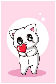 Een schattige witte kat die een kleine illustratie van de hartbeeldverhaal koestert