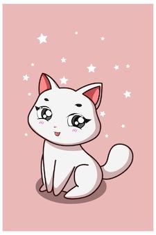 Een schattige witte kat met roze achtergrond